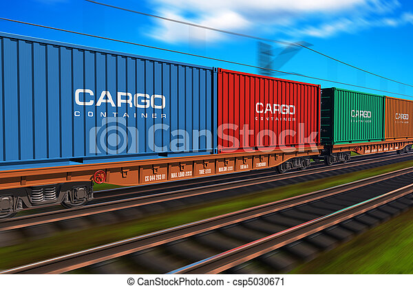 Freight train with cargo containers - csp5030671