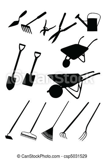 Vecteurs eps de outils jardin isolated silhouettes de for Dessin outils jardinage