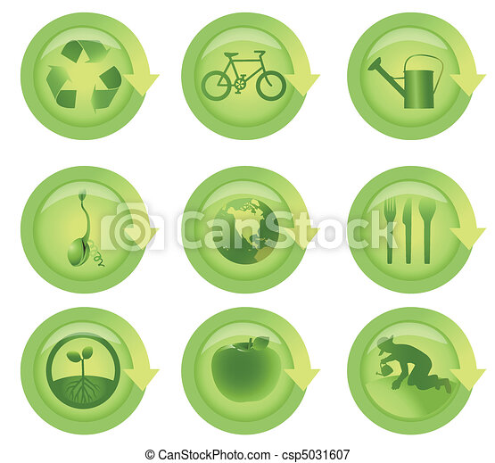 Glossy Arrow Ecological Icon Set - csp5031607