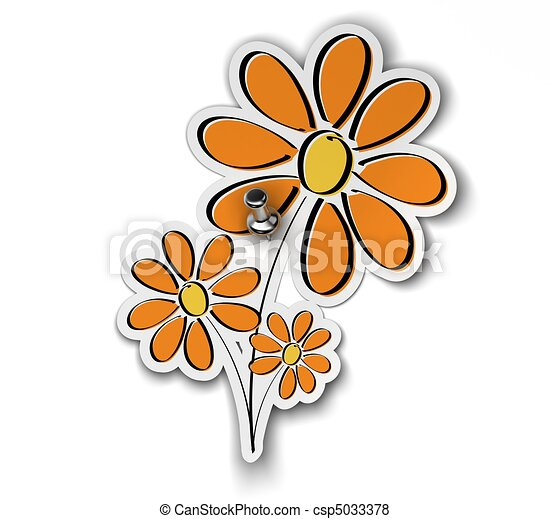 flower sticker fixed over a white background with a pushpin, flower is yellow orange - csp5033378