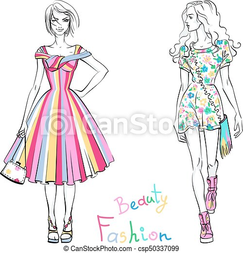 Fashionable girls in summer dresses - csp50337099