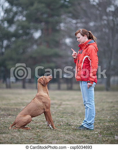 Master and her obedient  dog - csp5034693