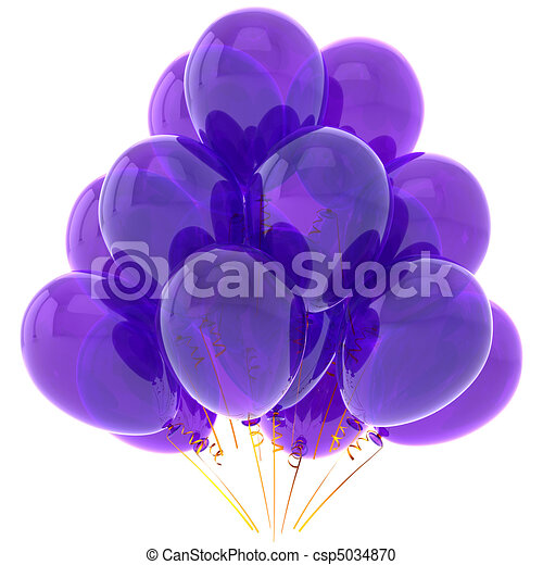 Purple party helium balloons - csp5034870