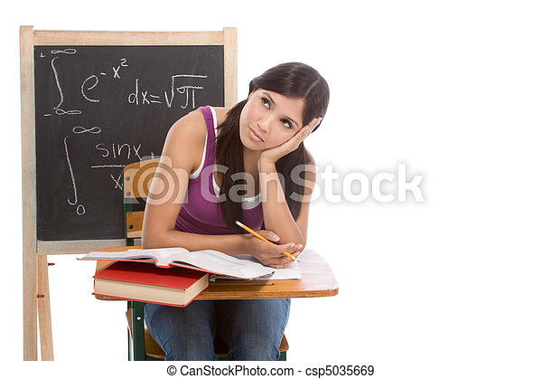 Hispanic college student woman studying math exam - csp5035669