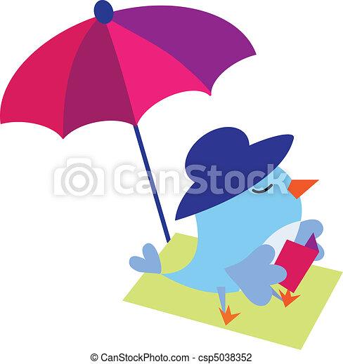 Bird reading book on the beach - csp5038352
