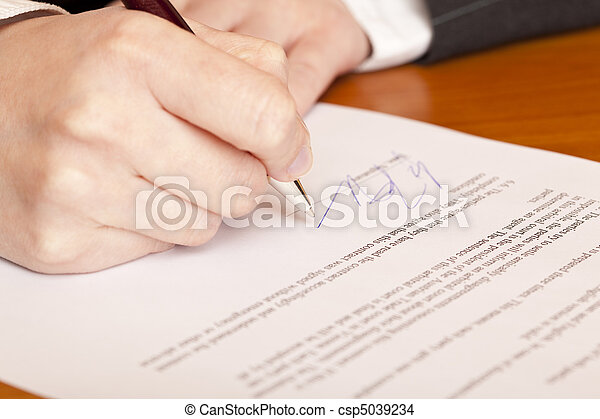 Close-up macro of signing a contract - csp5039234