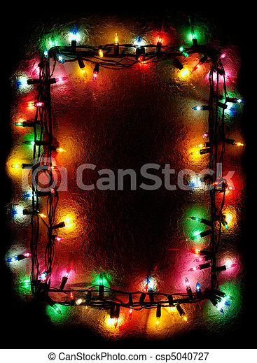 Christmas Tree Lights Frame - csp5040727