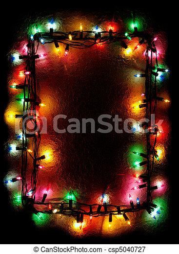 Christmas Tree Lights Frame - csp5040727