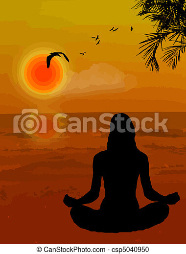 Woman doing yoga exercise background - csp5040950
