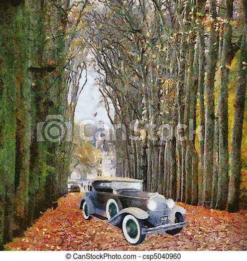 Vintage cars (oil painting) - csp5040960