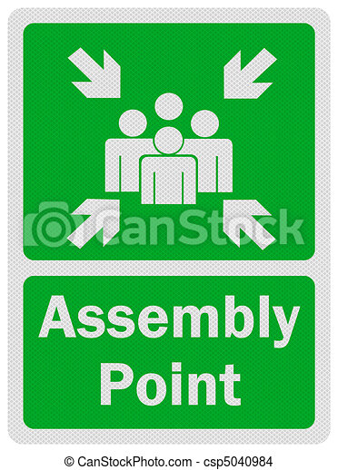 Photo realistic ' assembly point' sign, isolated on white - csp5040984