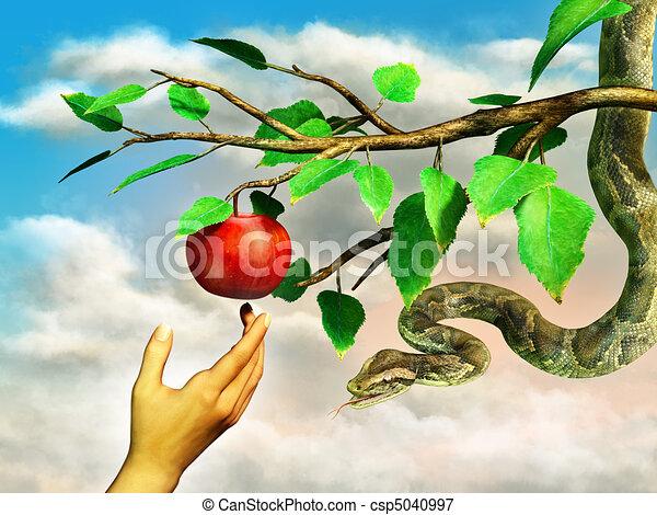 Illustrations de pomme, tentation - Eva's, main, Atteindre ...