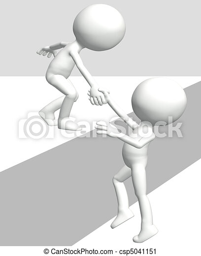Helping person lifts 3D friend climb up top - csp5041151