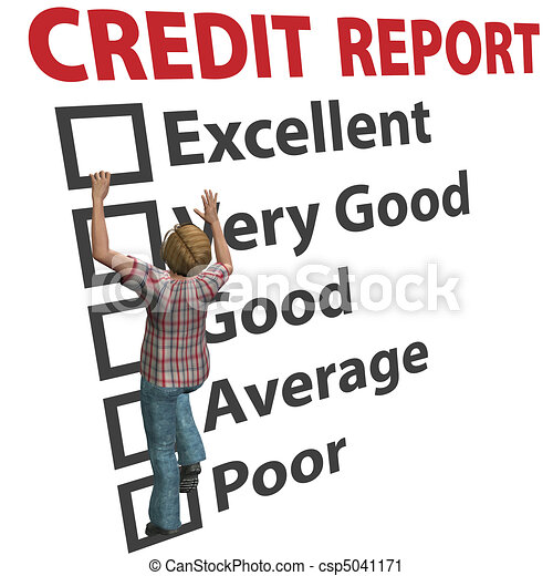 Woman builds up credit report score rating - csp5041171