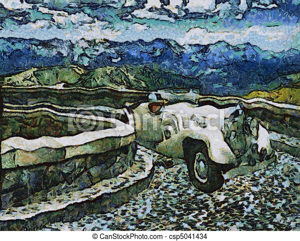 Vintage cars (oil painting) - csp5041434