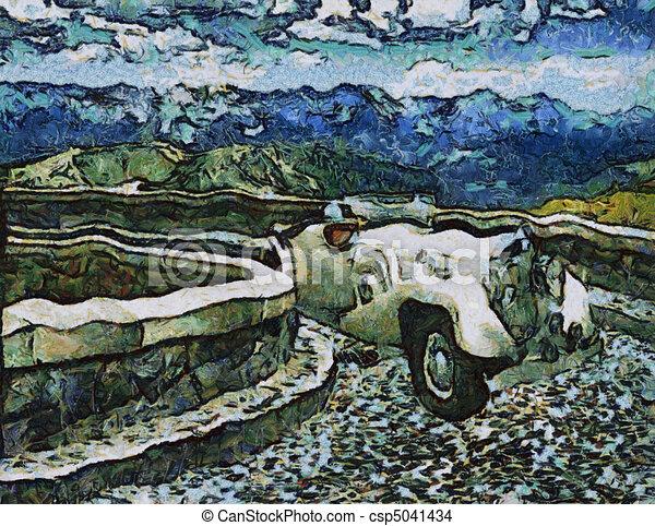 Vintage cars (oil painting) - csp5041434