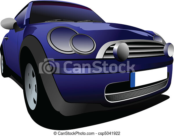 Blue small car on the road. Vector - csp5041922