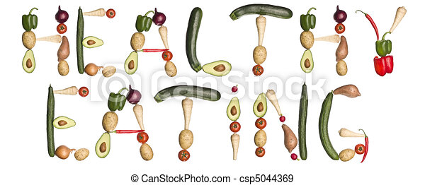 The phrase 'Healthy eating' made out of vegetables - csp5044369