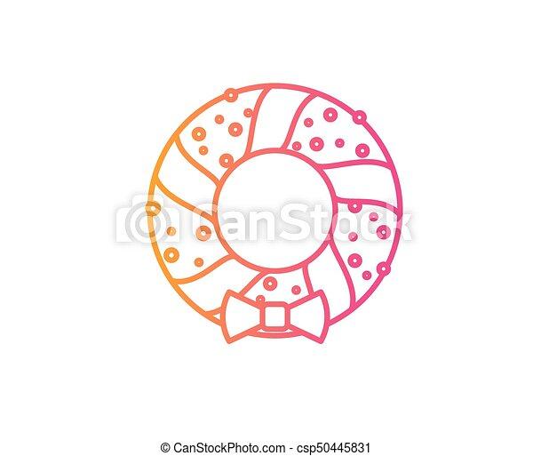deur, helling, krans, versiering, vector, lijn, kerstmis, pictogram - csp50445831