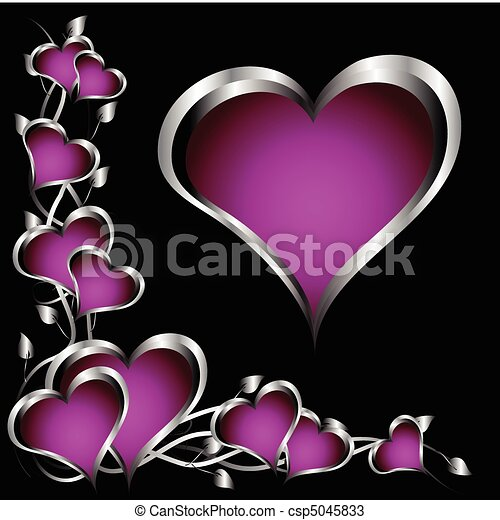 A purple hearts Valentines Day Background with silver hearts and flowers on a black background - csp5045833