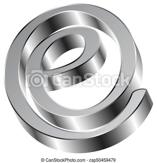 Shiny Chrome E Sign email Symbol - csp50459479