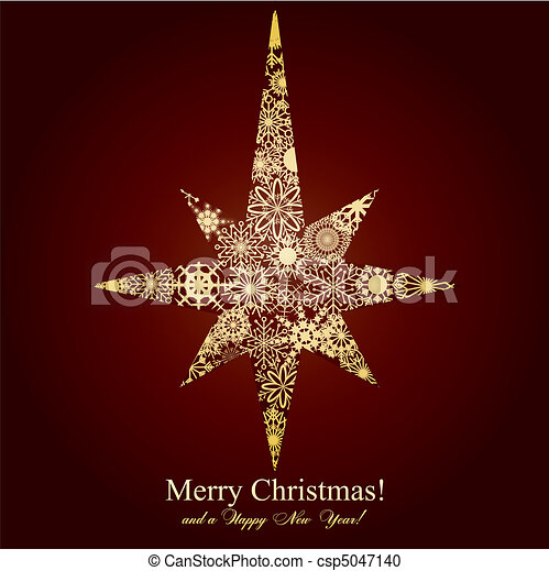 Christmas star mage from snowflakes on brown background, vector illustration - csp5047140