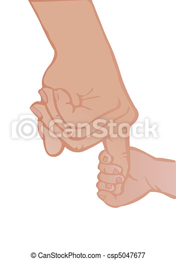 Vector illustration adult and baby's hands  - csp5047677