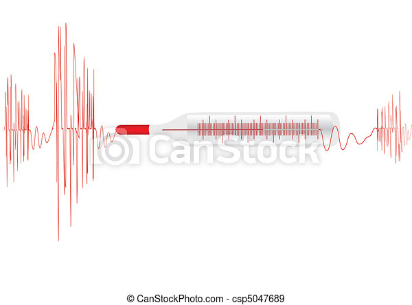 Vector illustration the cardiogramme with the medical thermometer on a white background - csp5047689