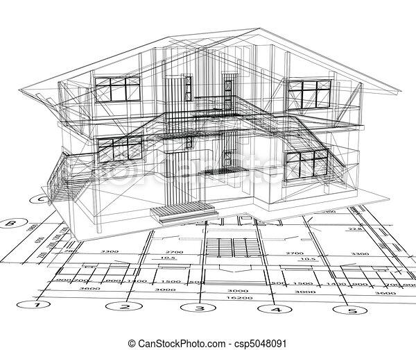 blåkopia, vektor, Hus, arkitektur - csp5048091