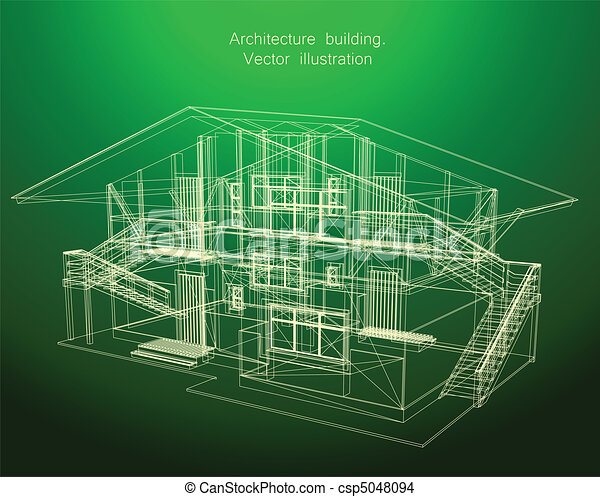 Eps Vector Of Architecture Blueprint Of A Green House