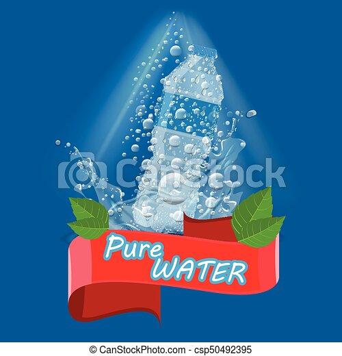 EPS vectores de botella agua pura splash anuncio limpio