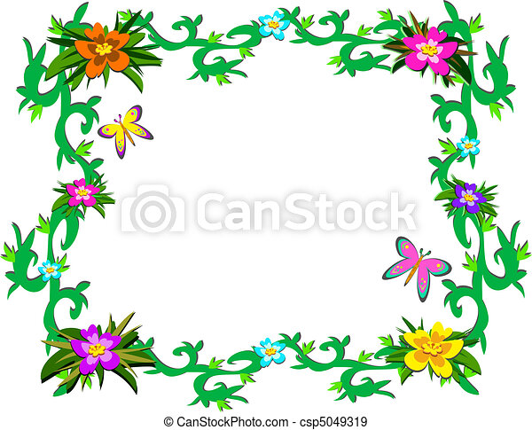 Frame of Lush Tropical Plants and B - csp5049319