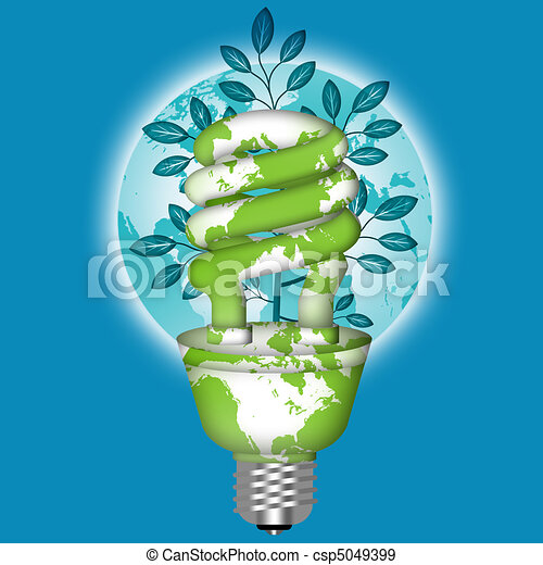 Energy Saving Eco Lightbulb with World Globe - csp5049399