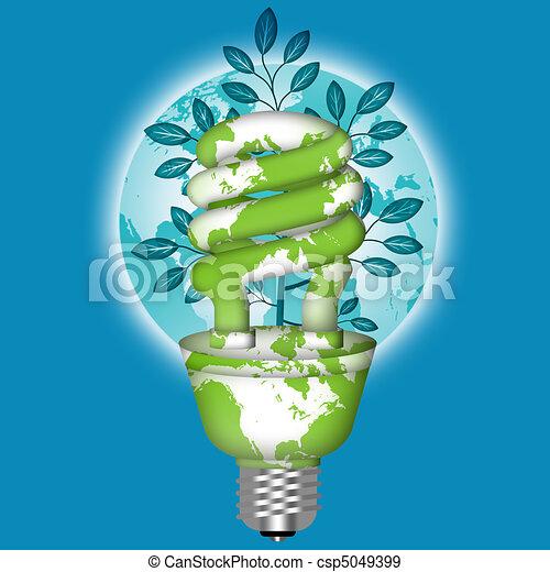 Energy Saving Eco Lightbulb with World Globe - csp5049399