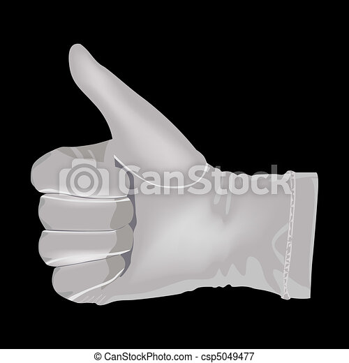Hand in a white glove shows a symbo - csp5049477