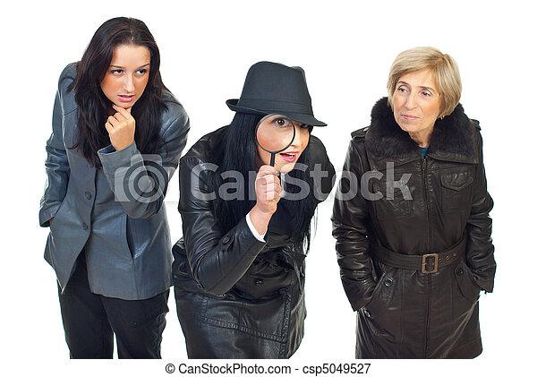 detectives, tres, mujeres - csp5049527