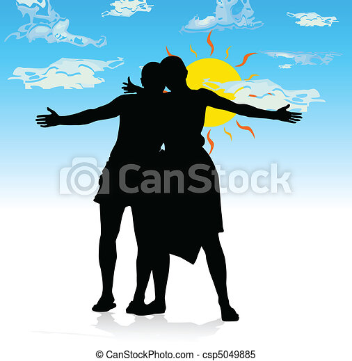 happy couple and clear skies vector - csp5049885