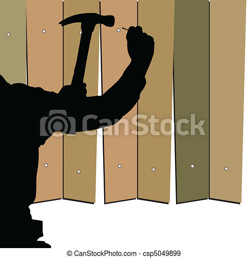 hammering nails into the fence vect - csp5049899