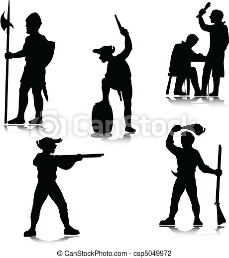 historical people vector silhouette - csp5049972
