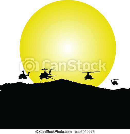 helicopter in action illustration - csp5049975