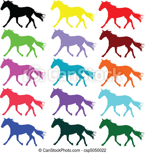horse color vector silhouettes - csp5050022