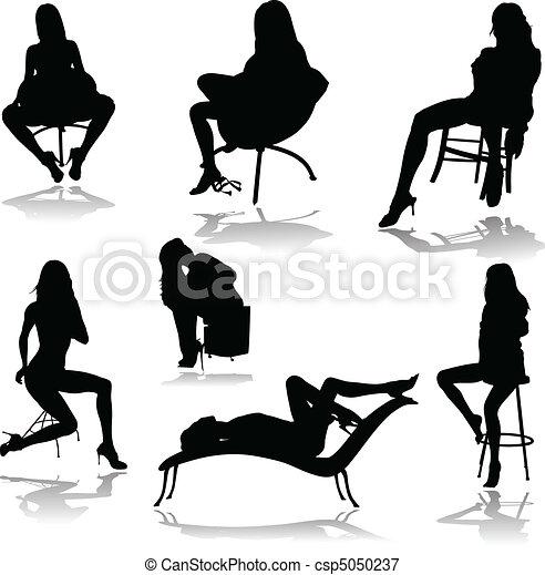 hot girls in chair vector silhouett - csp5050237