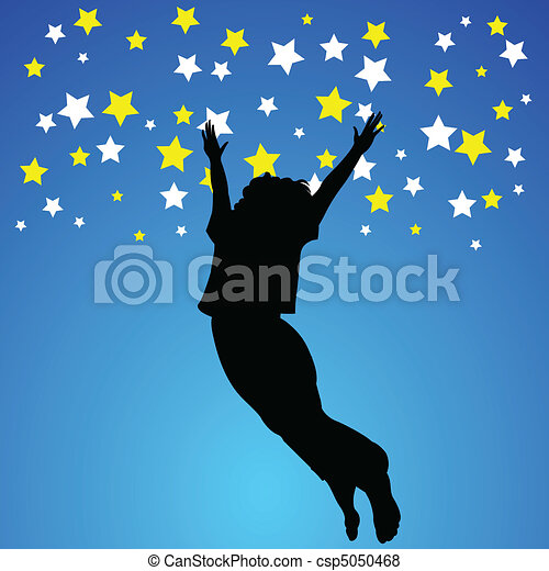 jump woman illustration - csp5050468