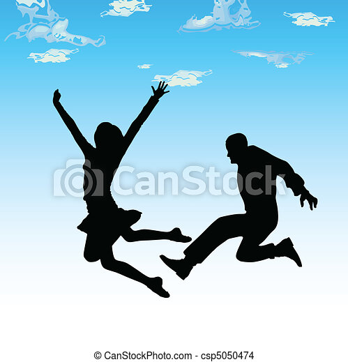 jumping couple vector silhouettes - csp5050474