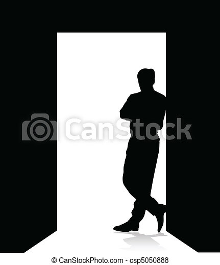 man leaning on the door - csp5050888