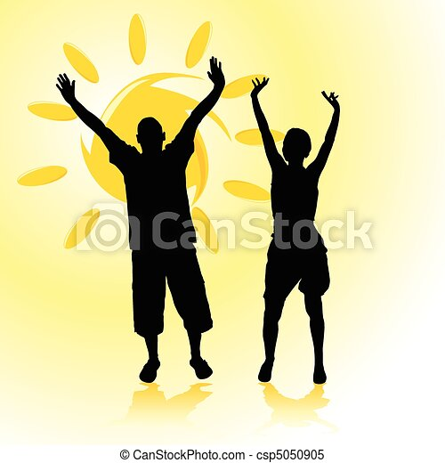 man and woman with arms raised - csp5050905