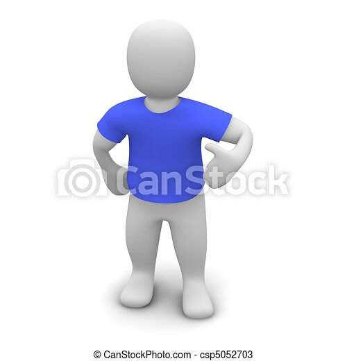 Man wearing blue t-shirt. 3d rendered illustration. - csp5052703