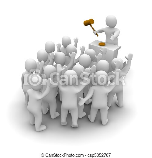 Auction with auctioneer holding wooden hammer. 3d rendered illustration. - csp5052707