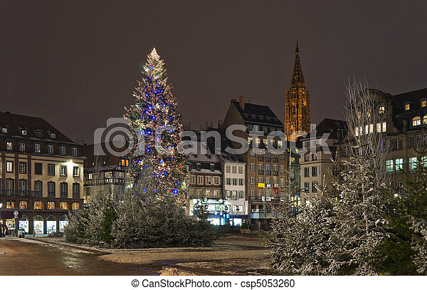 Christmas tree in the city square - csp5053260