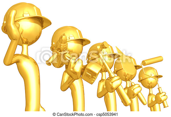 Gold Guy Construction Crew - csp5053941
